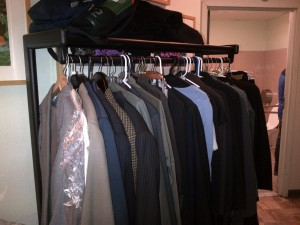 Interview-appropriate clothing rack