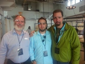 Aldon Hynes, Ali Eslami and Paul Mayer with Google Glass